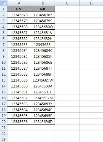 formula calcular letra dni: