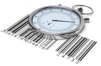 reloj y código de barras que miden la eficacia del just in time