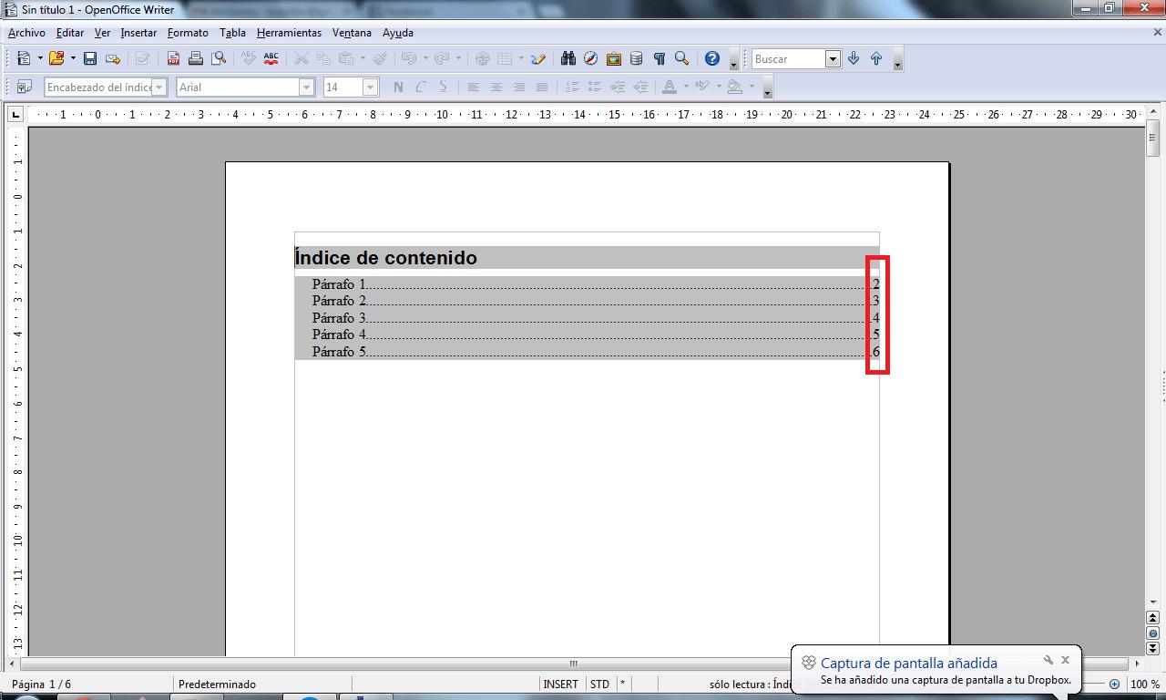 OpenOffice Writer - Crear índices o Sumarios: Educación, Tecnología ...