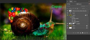 Visualización del menú de capas en photoshop