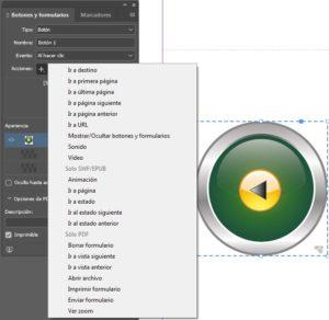 Adobe indesign Características botón
