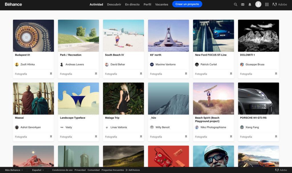 galería portfolio online de Behance