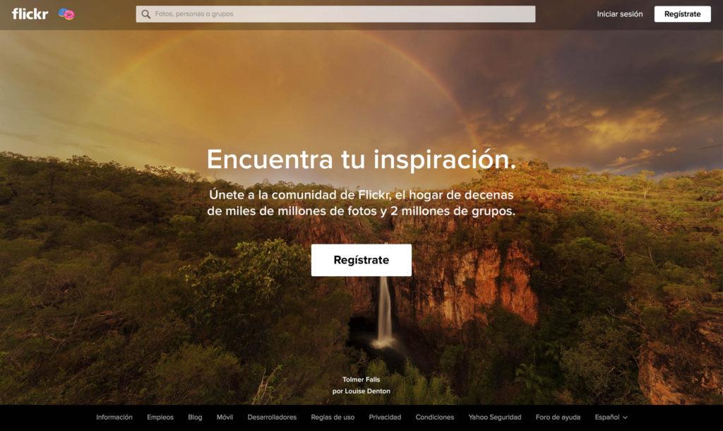 página de acceso portfolio online de flickr
