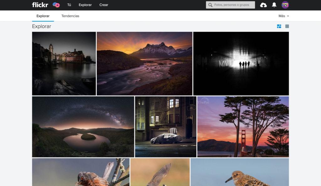 pantalla explorar portfolio online flikr