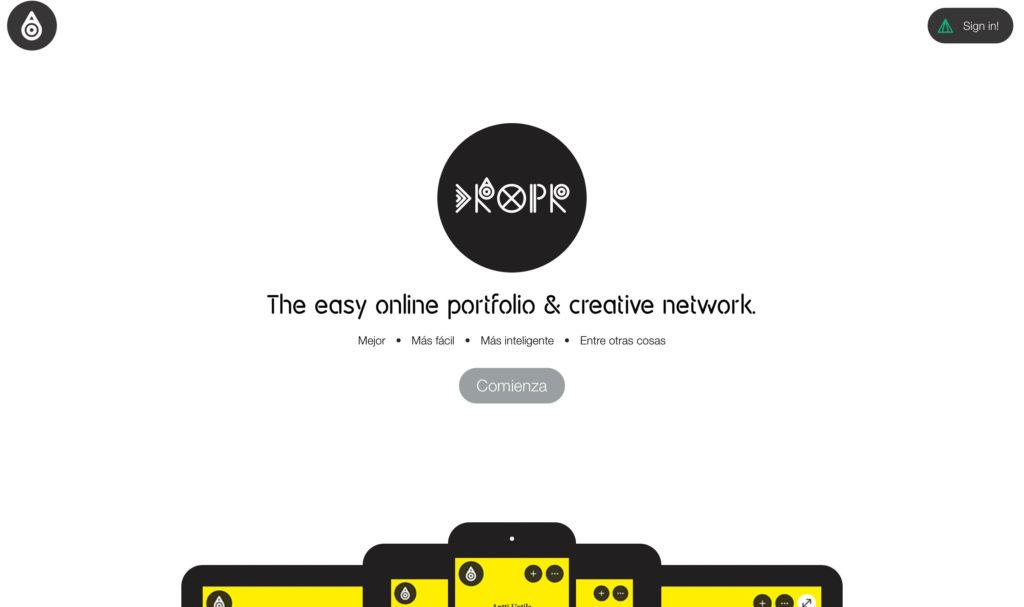 página comienza portfolio online dropr