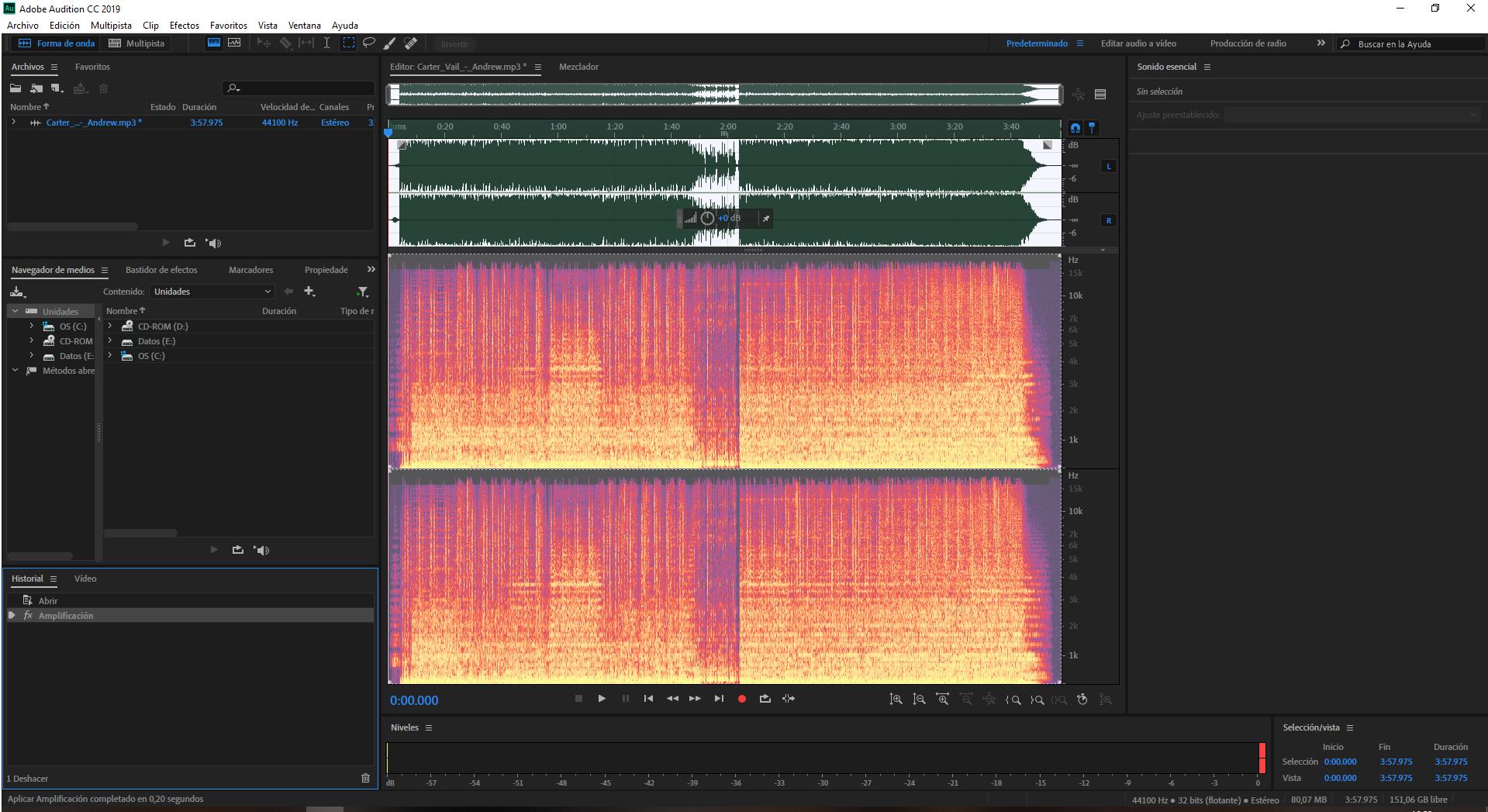 Crea tu podcast - Captura Adobe Audition