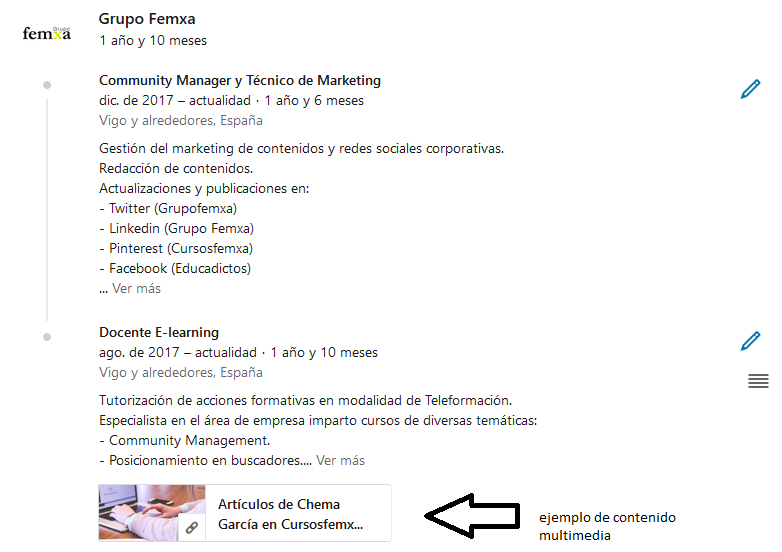 contenido multimedia en perfil linkedin