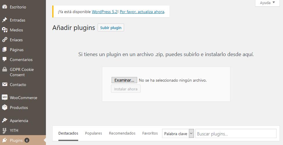 Añadir plugins desde wordpress