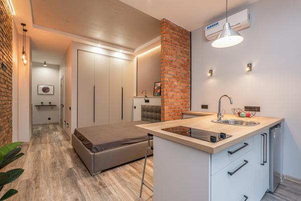 ganar metros en un apartamento con una isla en la cocina